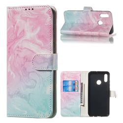 Pink Green Marble PU Leather Wallet Case for Huawei Honor 10 Lite