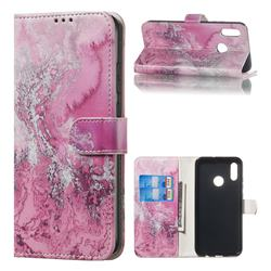 Pink Seawater PU Leather Wallet Case for Huawei Honor 10 Lite