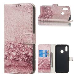 Glittering Rose Gold PU Leather Wallet Case for Huawei Honor 10 Lite