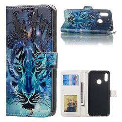 Ice Wolf 3D Relief Oil PU Leather Wallet Case for Huawei Honor 10 Lite