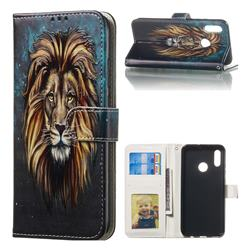 Ice Lion 3D Relief Oil PU Leather Wallet Case for Huawei Honor 10 Lite