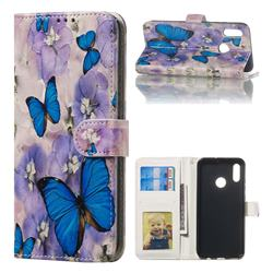 Purple Flowers Butterfly 3D Relief Oil PU Leather Wallet Case for Huawei Honor 10 Lite