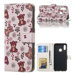 Cute Bear 3D Relief Oil PU Leather Wallet Case for Huawei Honor 10 Lite
