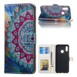 Mandala Flower 3D Relief Oil PU Leather Wallet Case for Huawei Honor 10 Lite
