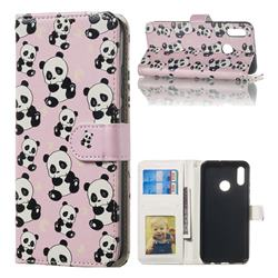 Cute Panda 3D Relief Oil PU Leather Wallet Case for Huawei Honor 10 Lite