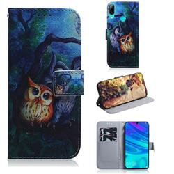 Oil Painting Owl PU Leather Wallet Case for Huawei Honor 10 Lite