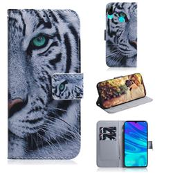White Tiger PU Leather Wallet Case for Huawei Honor 10 Lite