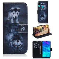 Wolf and Dog PU Leather Wallet Case for Huawei Honor 10 Lite