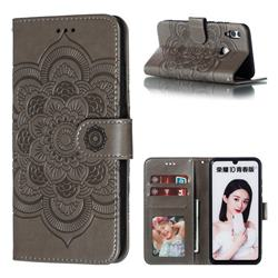 Intricate Embossing Datura Solar Leather Wallet Case for Huawei Honor 10 Lite - Gray