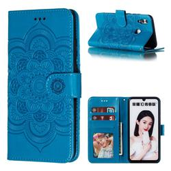 Intricate Embossing Datura Solar Leather Wallet Case for Huawei Honor 10 Lite - Blue