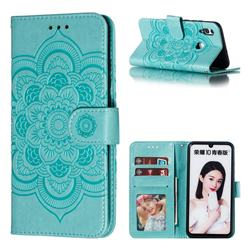 Intricate Embossing Datura Solar Leather Wallet Case for Huawei Honor 10 Lite - Green