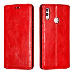 Retro Slim Magnetic Crazy Horse PU Leather Wallet Case for Huawei Honor 10 Lite - Red