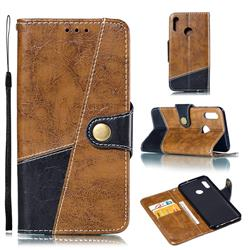 Retro Magnetic Stitching Wallet Flip Cover for Huawei Honor 10 Lite - Brown