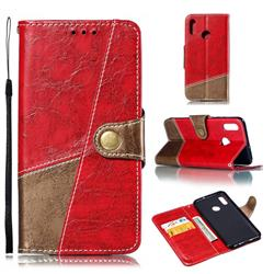 Retro Magnetic Stitching Wallet Flip Cover for Huawei Honor 10 Lite - Rose Red