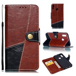 Retro Magnetic Stitching Wallet Flip Cover for Huawei Honor 10 Lite - Dark Red