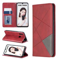 Prismatic Slim Magnetic Sucking Stitching Wallet Flip Cover for Huawei Honor 10 Lite - Red