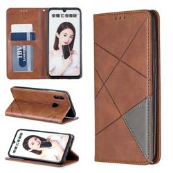 Prismatic Slim Magnetic Sucking Stitching Wallet Flip Cover for Huawei Honor 10 Lite - Brown
