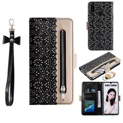 Luxury Lace Zipper Stitching Leather Phone Wallet Case for Huawei Honor 10 Lite - Black