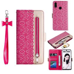 Luxury Lace Zipper Stitching Leather Phone Wallet Case for Huawei Honor 10 Lite - Rose