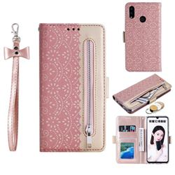 Luxury Lace Zipper Stitching Leather Phone Wallet Case for Huawei Honor 10 Lite - Pink