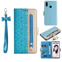 Luxury Lace Zipper Stitching Leather Phone Wallet Case for Huawei Honor 10 Lite - Blue