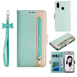 Luxury Lace Zipper Stitching Leather Phone Wallet Case for Huawei Honor 10 Lite - Green