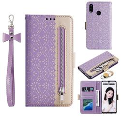 Luxury Lace Zipper Stitching Leather Phone Wallet Case for Huawei Honor 10 Lite - Purple