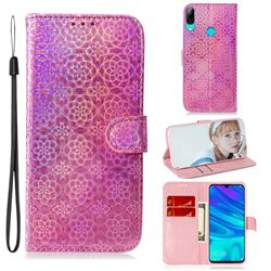 Laser Circle Shining Leather Wallet Phone Case for Huawei Honor 10 Lite - Pink