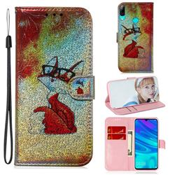 Glasses Fox Laser Shining Leather Wallet Phone Case for Huawei Honor 10 Lite