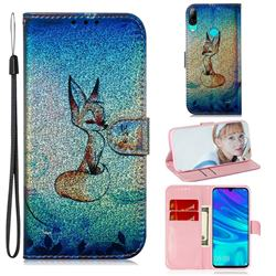 Cute Fox Laser Shining Leather Wallet Phone Case for Huawei Honor 10 Lite