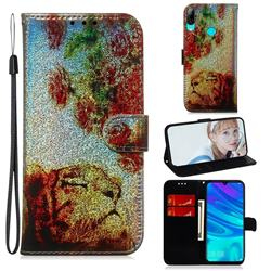 Tiger Rose Laser Shining Leather Wallet Phone Case for Huawei Honor 10 Lite