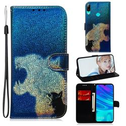 Cat and Leopard Laser Shining Leather Wallet Phone Case for Huawei Honor 10 Lite