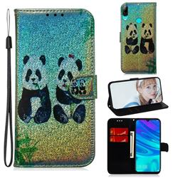 Two Pandas Laser Shining Leather Wallet Phone Case for Huawei Honor 10 Lite