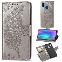 Embossing Mandala Flower Butterfly Leather Wallet Case for Huawei Honor 10 Lite - Gray