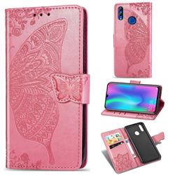 Embossing Mandala Flower Butterfly Leather Wallet Case for Huawei Honor 10 Lite - Pink