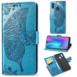 Embossing Mandala Flower Butterfly Leather Wallet Case for Huawei Honor 10 Lite - Blue