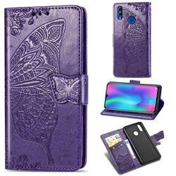 Embossing Mandala Flower Butterfly Leather Wallet Case for Huawei Honor 10 Lite - Dark Purple