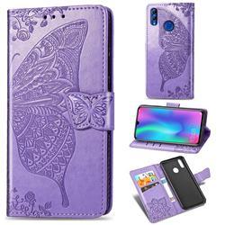 Embossing Mandala Flower Butterfly Leather Wallet Case for Huawei Honor 10 Lite - Light Purple