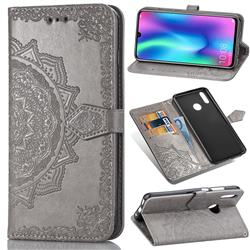 Embossing Imprint Mandala Flower Leather Wallet Case for Huawei Honor 10 Lite - Gray