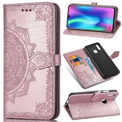 Embossing Imprint Mandala Flower Leather Wallet Case for Huawei Honor 10 Lite - Rose Gold
