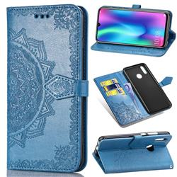 Embossing Imprint Mandala Flower Leather Wallet Case for Huawei Honor 10 Lite - Blue