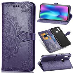 Embossing Imprint Mandala Flower Leather Wallet Case for Huawei Honor 10 Lite - Purple