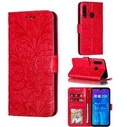 Intricate Embossing Lace Jasmine Flower Leather Wallet Case for Huawei Honor 10 Lite - Red