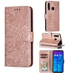 Intricate Embossing Lace Jasmine Flower Leather Wallet Case for Huawei Honor 10 Lite - Rose Gold
