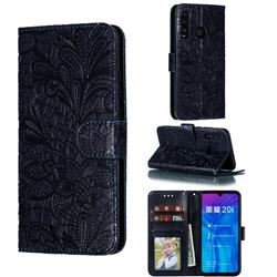 Intricate Embossing Lace Jasmine Flower Leather Wallet Case for Huawei Honor 10 Lite - Dark Blue