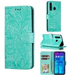 Intricate Embossing Lace Jasmine Flower Leather Wallet Case for Huawei Honor 10 Lite - Green