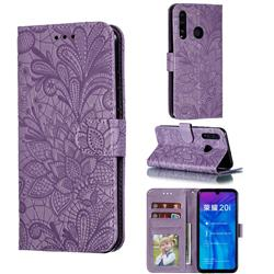 Intricate Embossing Lace Jasmine Flower Leather Wallet Case for Huawei Honor 10 Lite - Purple