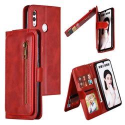 Multifunction 9 Cards Leather Zipper Wallet Phone Case for Huawei Honor 10 Lite - Red