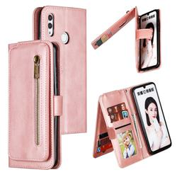 Multifunction 9 Cards Leather Zipper Wallet Phone Case for Huawei Honor 10 Lite - Rose Gold