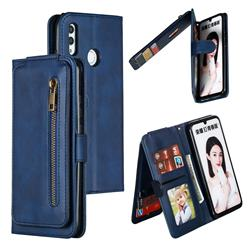 Multifunction 9 Cards Leather Zipper Wallet Phone Case for Huawei Honor 10 Lite - Blue